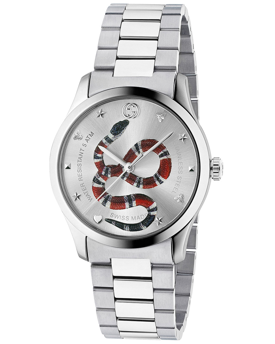 Image 1 of Gucci 38MM G-Timeless Snake Bracelet Watch in Silver