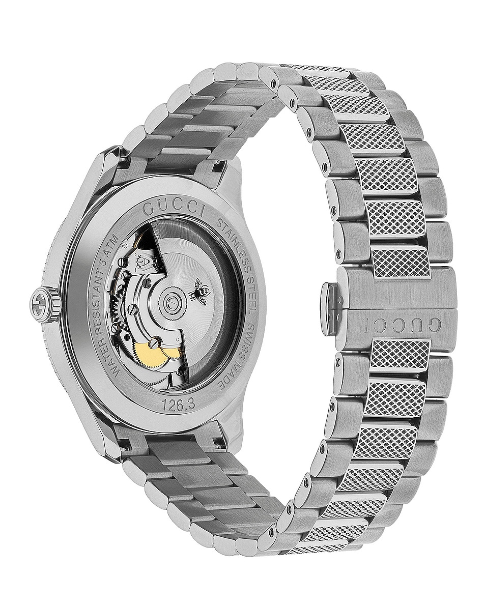 Gucci 40MM Automatic Etched Face Watch Silver good