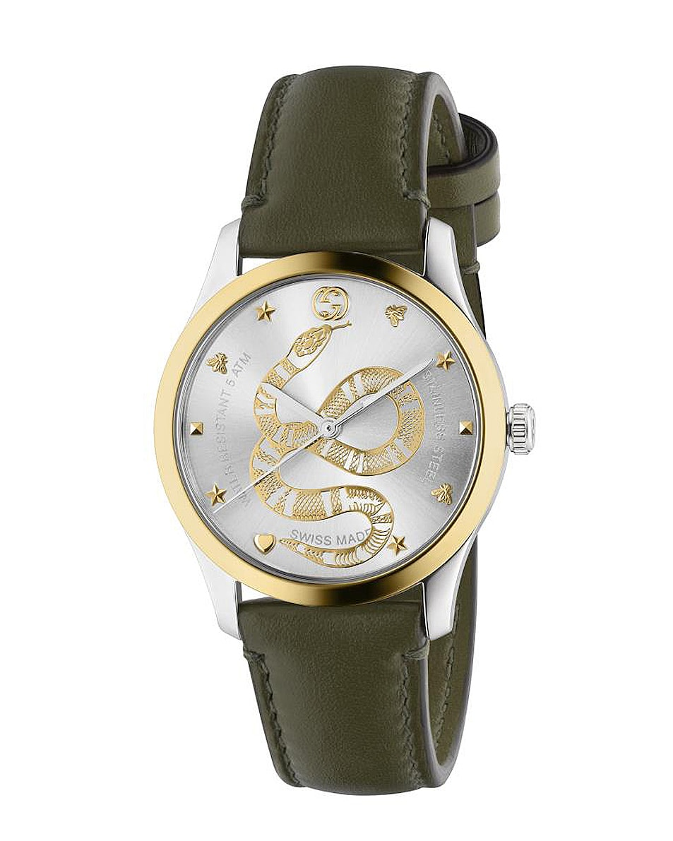 Image 1 of Gucci Kingsnake Motif Leather 38mm Watch in Steel & Yellow Gold