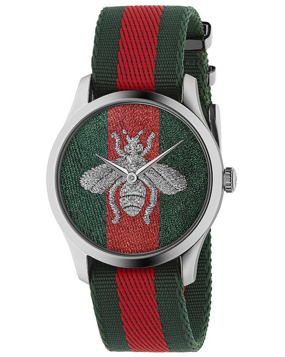 Image 1 of Gucci G-Timeless Watch in Green, Red & Silver