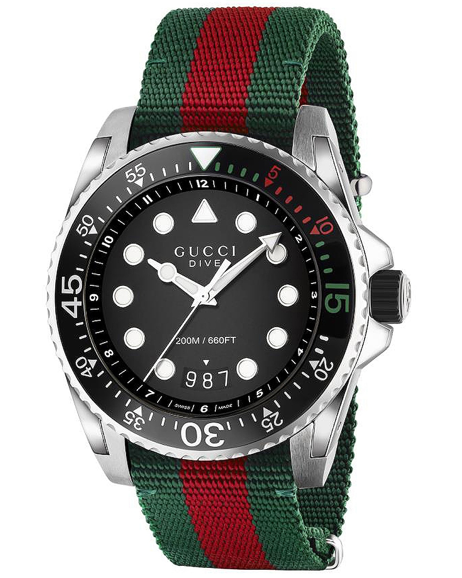 Image 1 of Gucci Dive Watch in Green, Red & Black