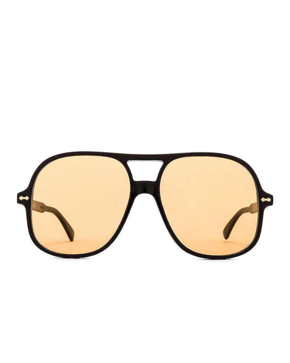 Image 1 of Gucci Aviator Sunglasses in Black & Yellow
