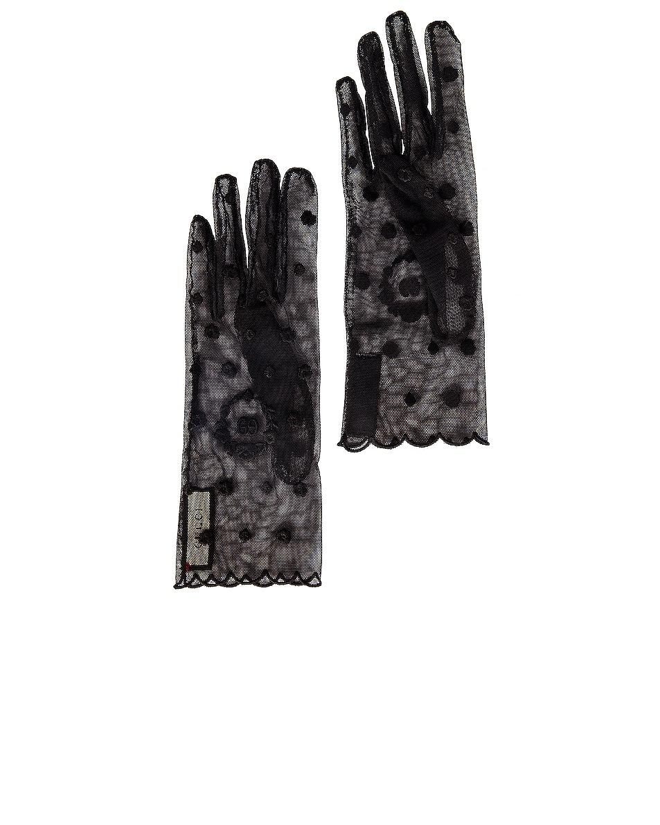 Image 1 of Gucci Sheer Gloves in Black & Black
