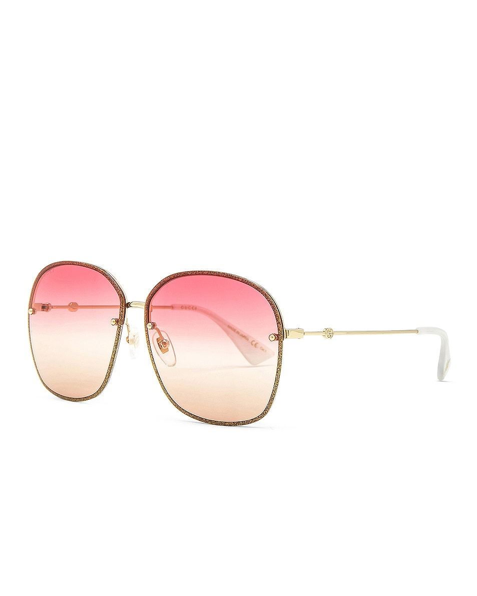 Image 2 of Gucci Urban Web Block Colored Profile Sunglasses in Gold