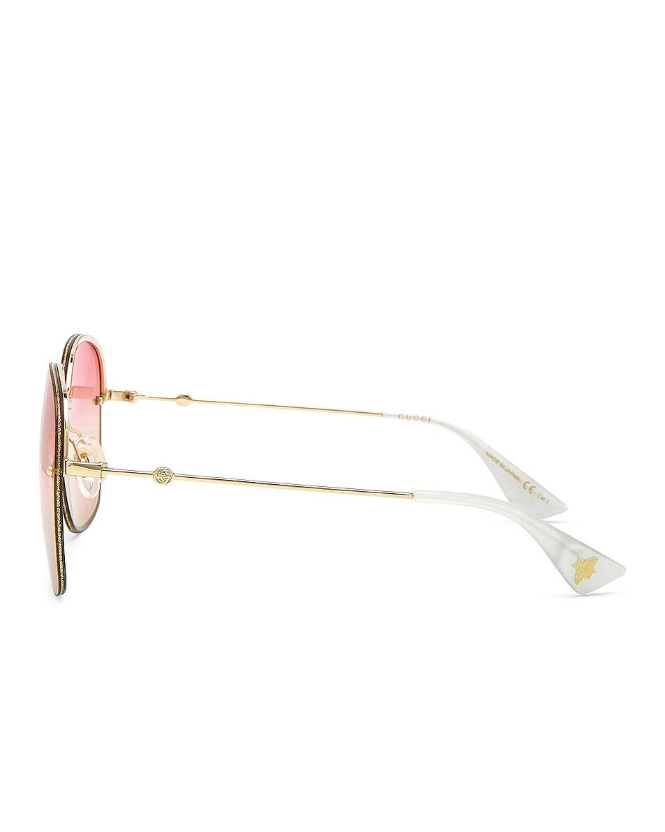 Image 3 of Gucci Urban Web Block Colored Profile Sunglasses in Gold