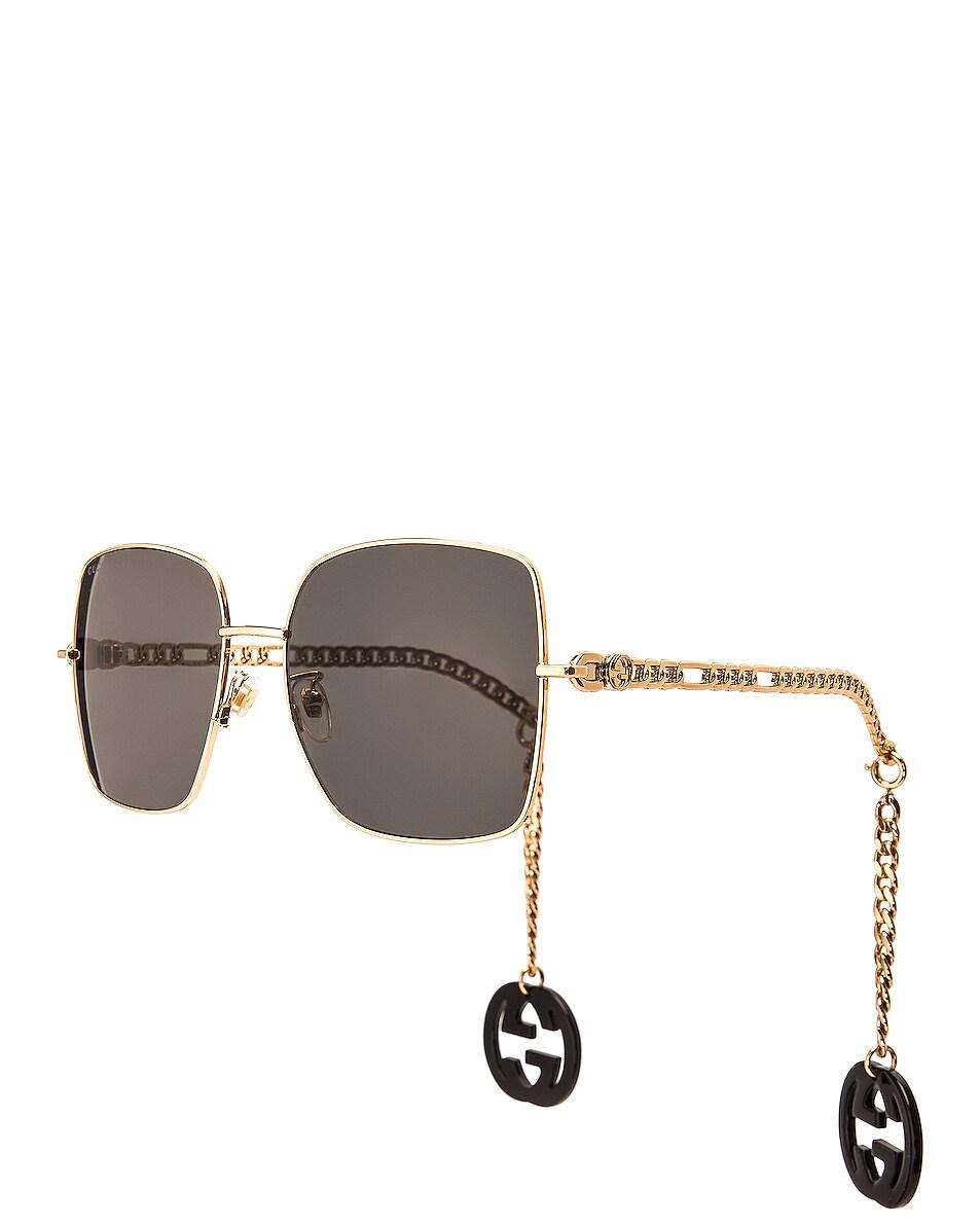 Image 1 of Gucci Chain Square Sunglasses in Shiny Black & Grey