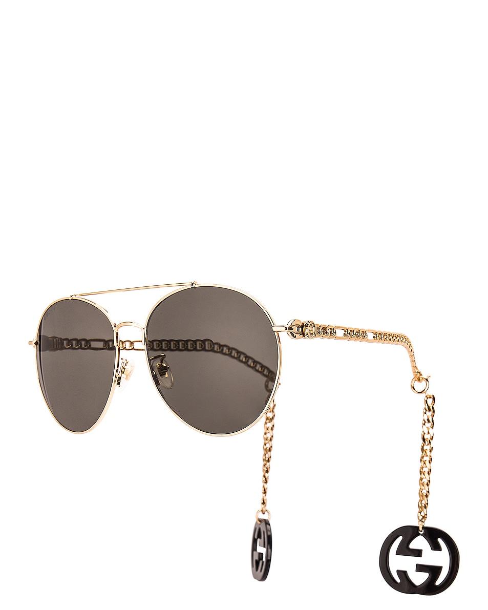 Image 1 of Gucci Chain Aviator Sunglasses in Shiny Black & Grey