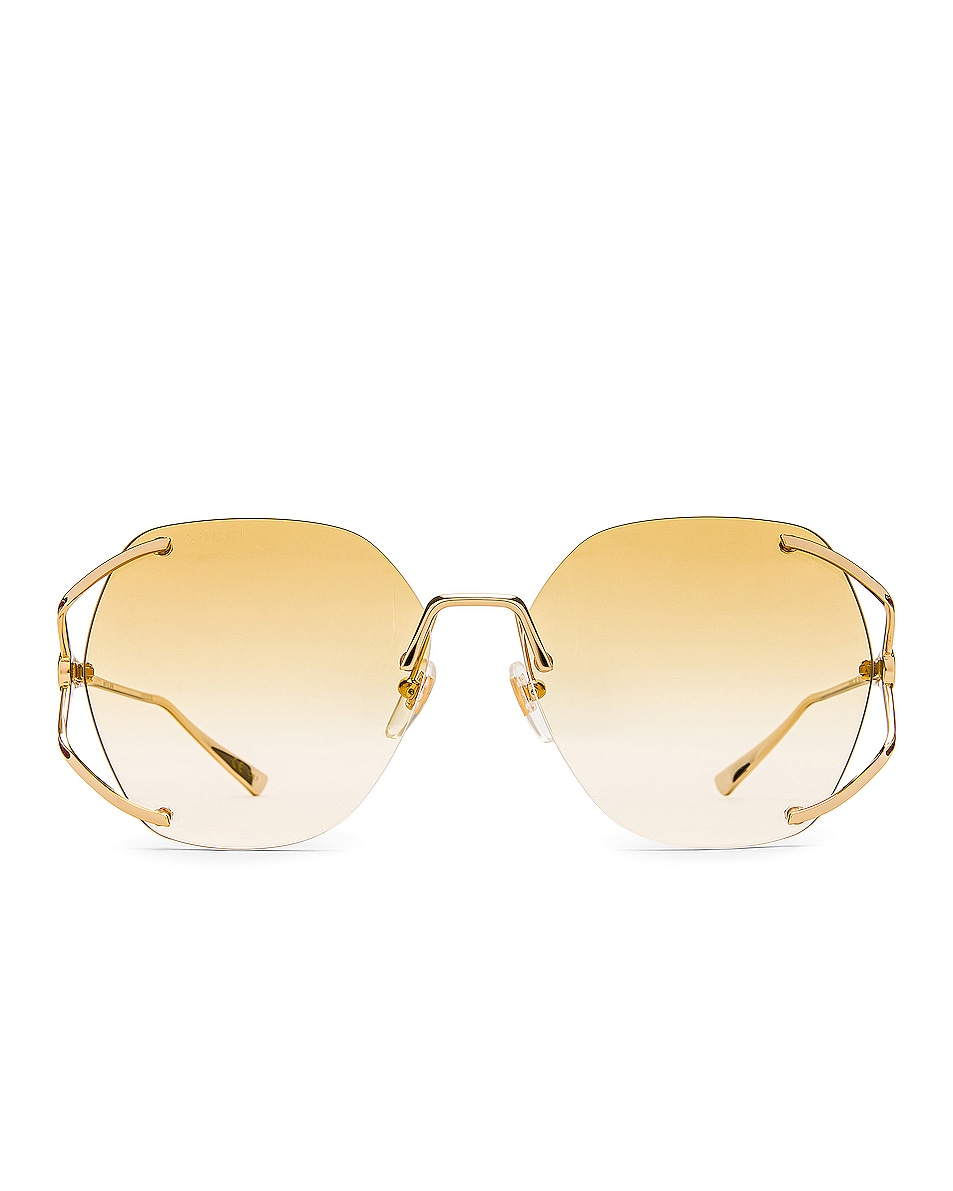 Image 1 of Gucci Fork Metal Sunglasses in Gold & Yellow