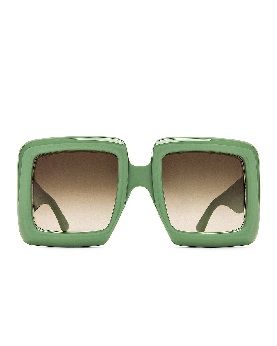 Image 1 of Gucci Oversize Square Sunglasses in Sage & Gradient Green
