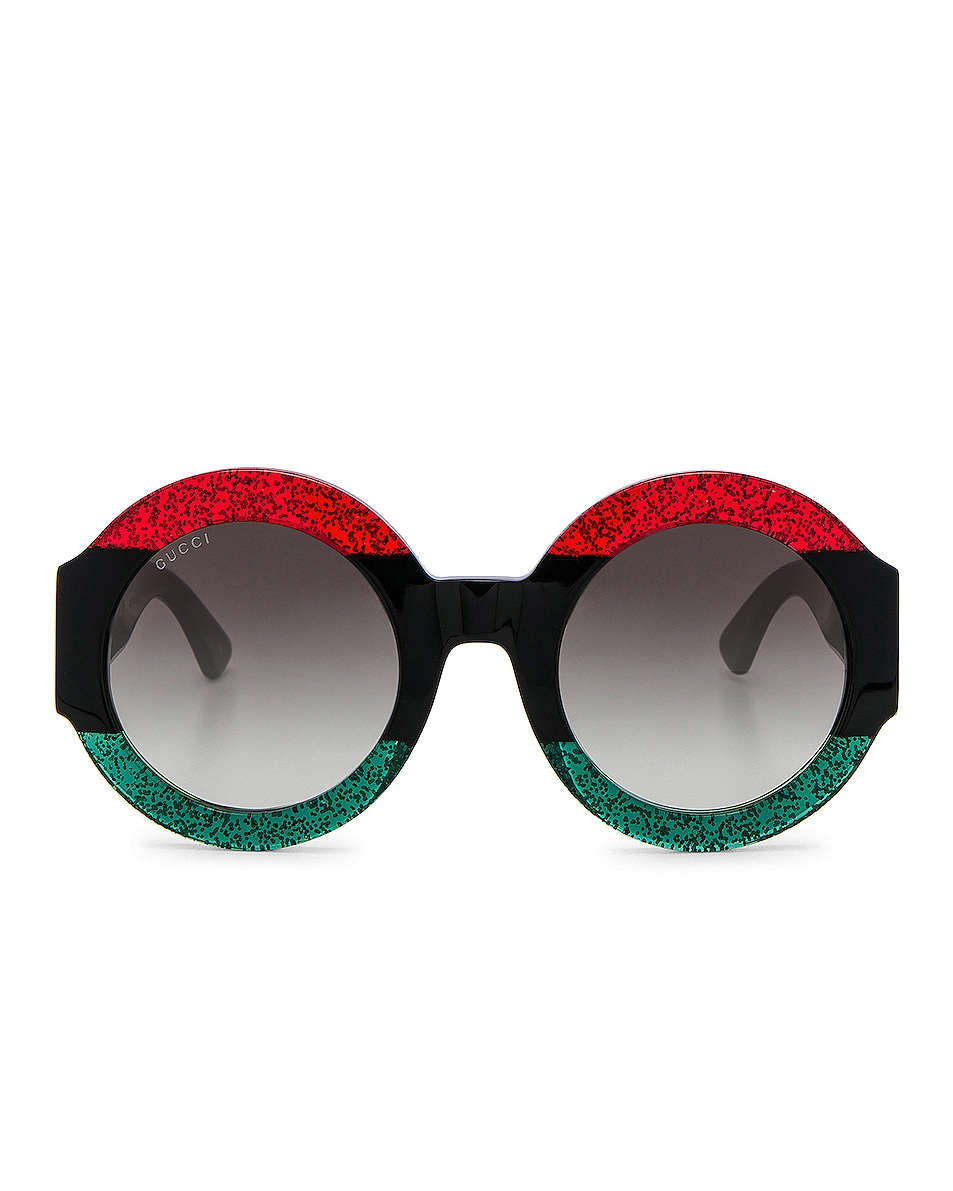 Image 1 of Gucci Urban Web Block Sunglasses in Green, Red & Black Web