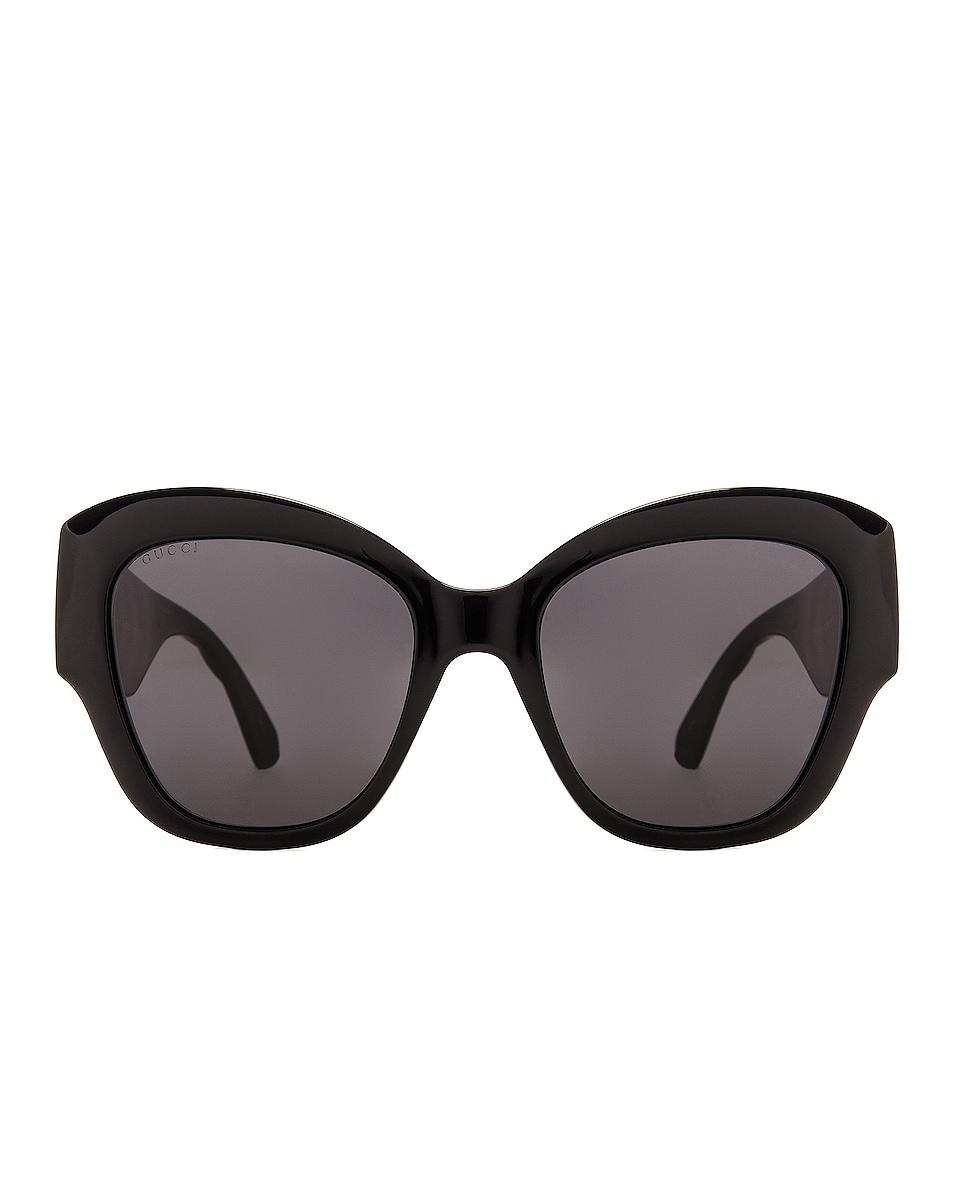 Image 1 of Gucci Matelasse Round Cat Eye Sunglasses in Black