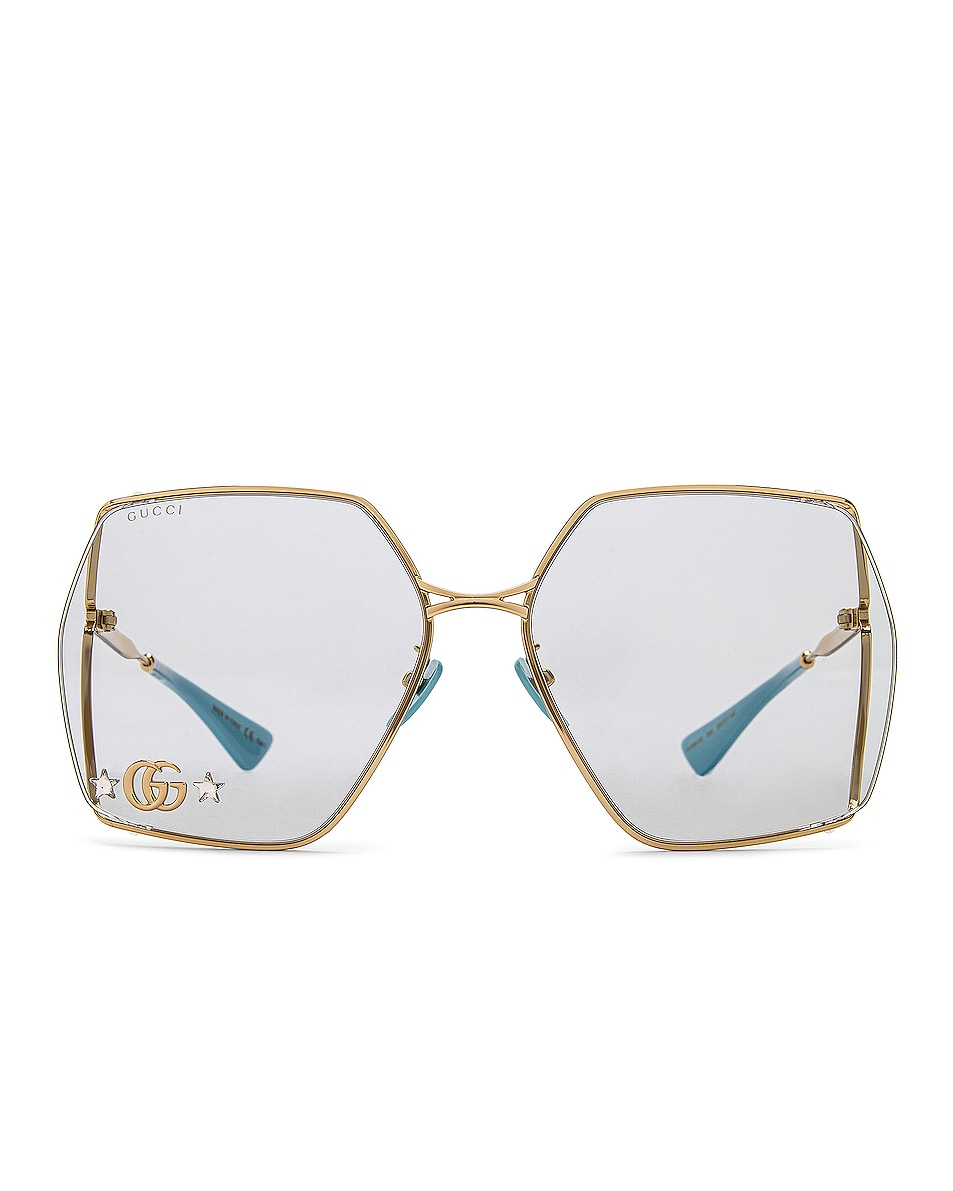 Image 1 of Gucci Fork Oversize Square Sunglasses in Azure & Gold