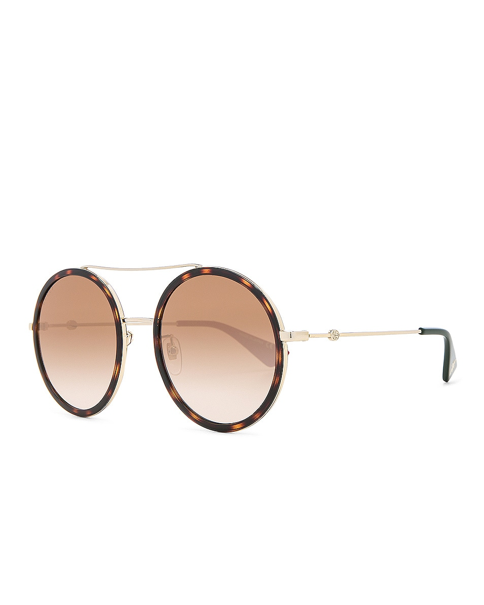 Image 2 of Gucci Web Block Sunglasses in Gold & Black