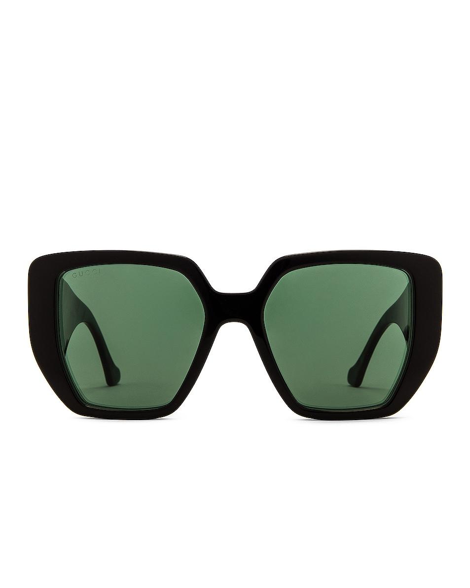 Image 1 of Gucci Oversize Geometric Sunglasses in Shiny Black & Solid Dark Green
