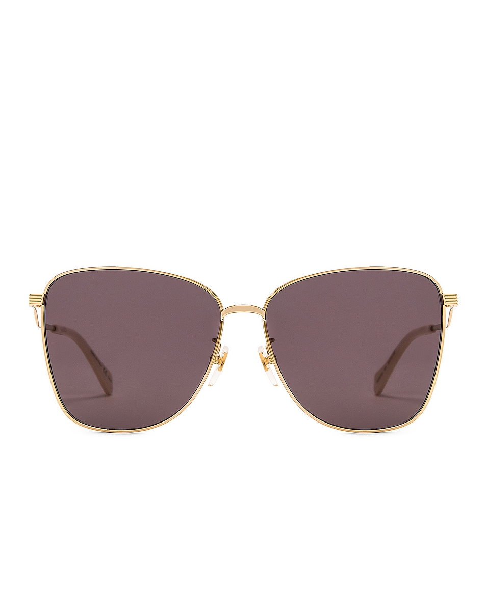 Image 1 of Gucci Metal Wave Butterfly Sunglasses in Shiny Endura Gold & Grey