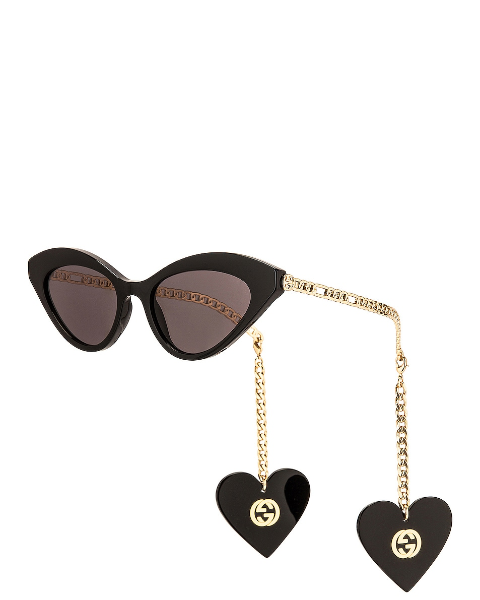 Image 1 of Gucci Chain Acetate Cat Eye Sunglasses in Shiny Black & Solid Grey