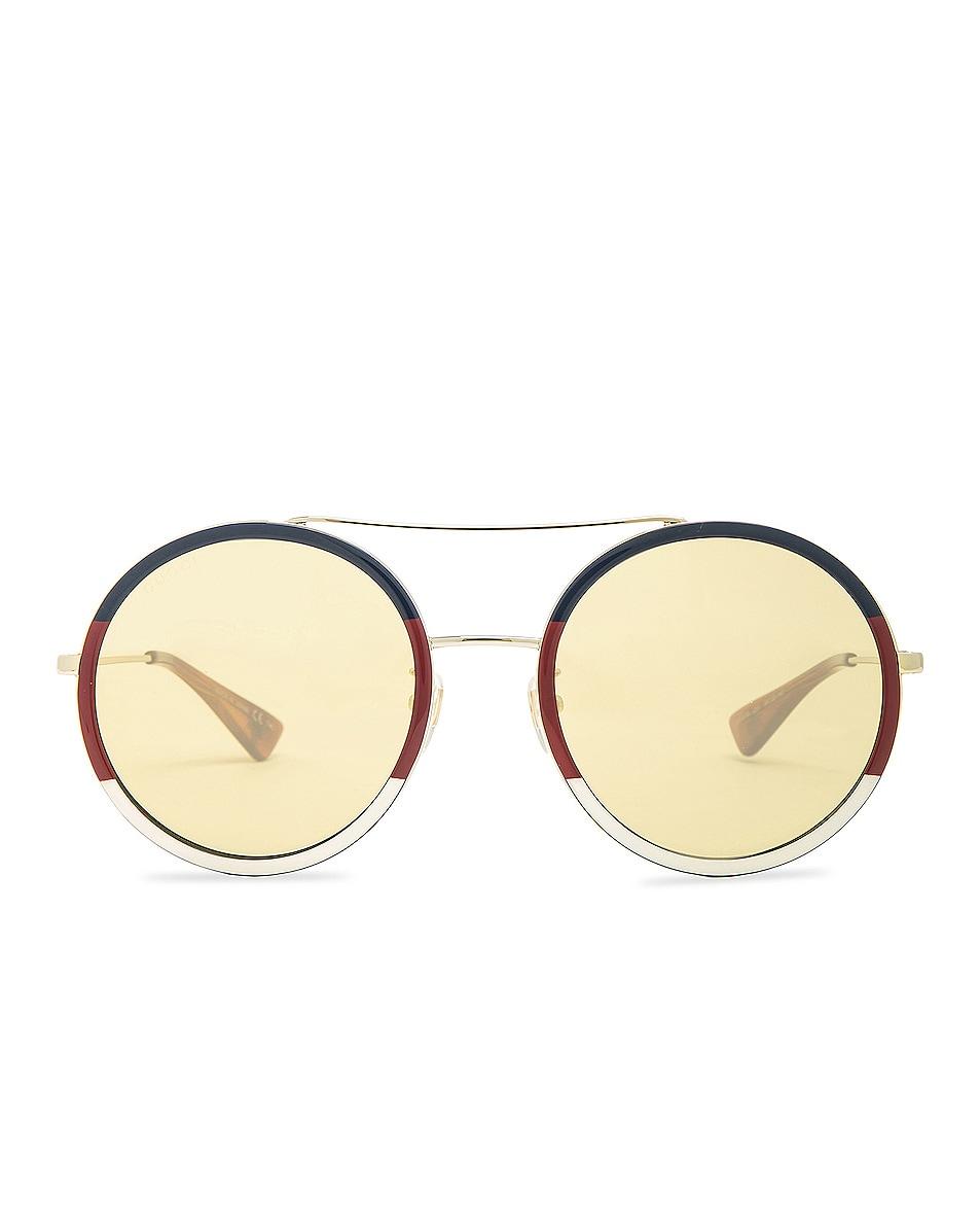 Image 1 of Gucci Web Block Sunglasses in Gold & Blonde Havana