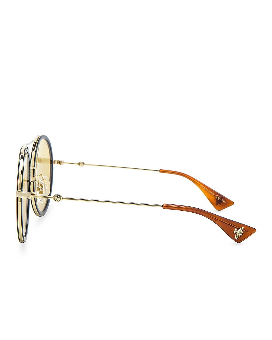Image 3 of Gucci Web Block Sunglasses in Gold & Blonde Havana