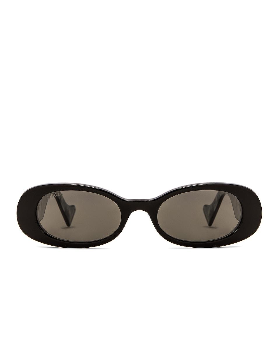 Image 1 of Gucci Small Oval Sunglasses in Black