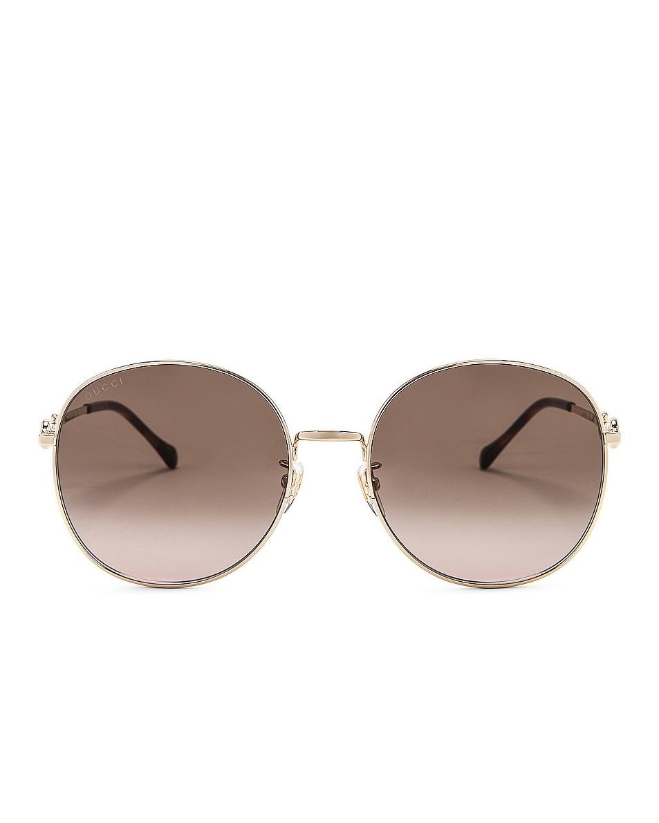 Image 1 of Gucci Metal Horsebit Sunglasses in Shiny Endura Gold & Gradient Brown