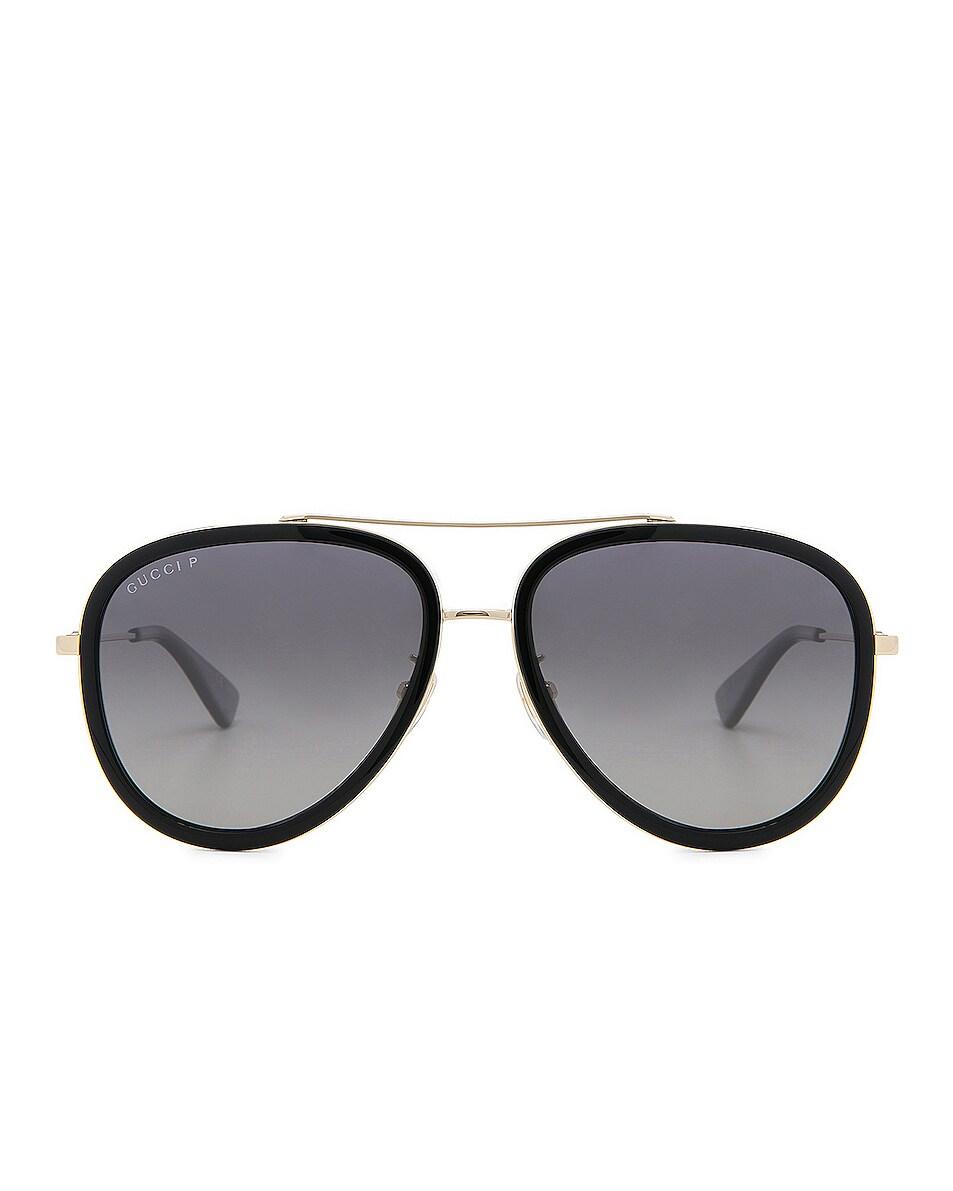 Image 1 of Gucci Web Block Sunglasses in Gold & Black