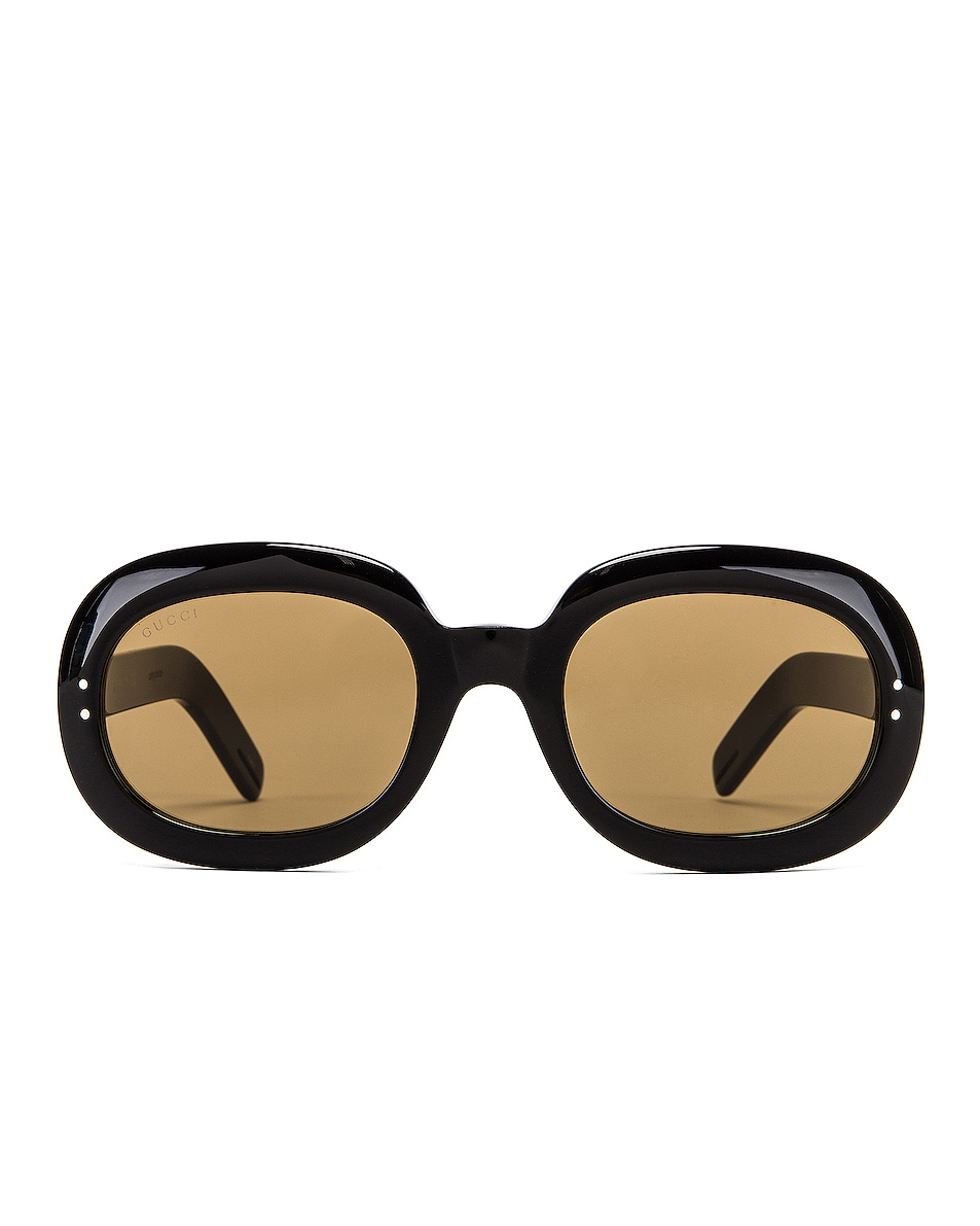 Image 1 of Gucci Small Acetate Sunglasses in Brown