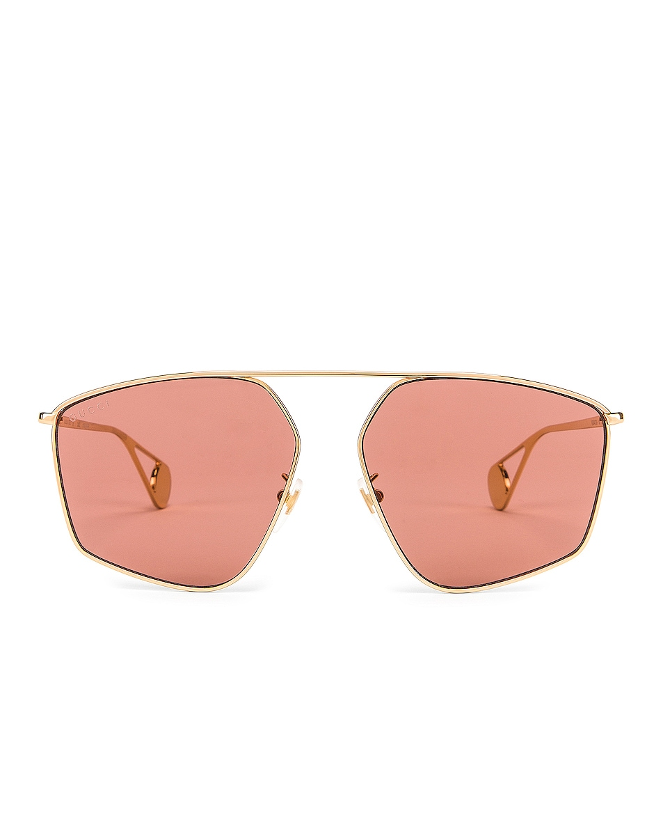 Image 1 of Gucci Shiny Gold Sunglasses in Red