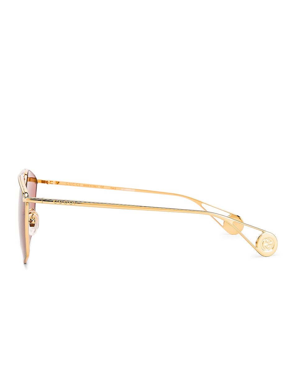 Image 3 of Gucci Shiny Gold Sunglasses in Red