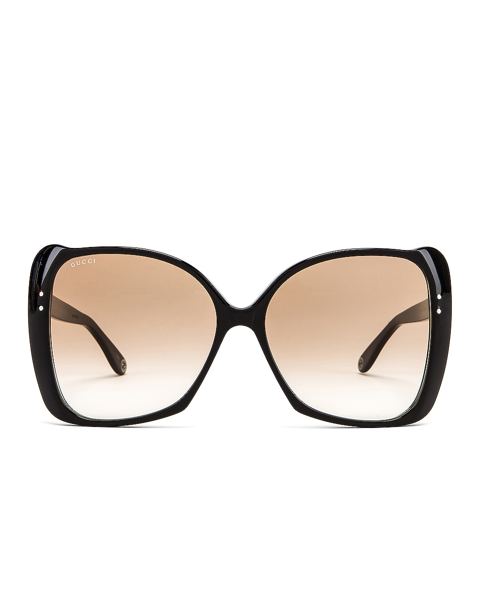 Image 1 of Gucci Square Acetate Sunglasses in Brown