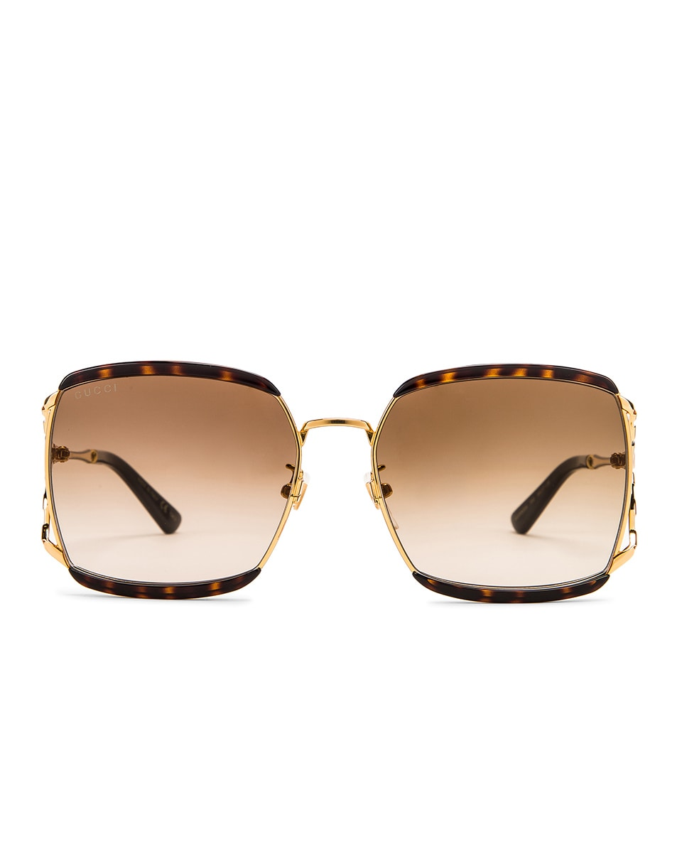 Image 1 of Gucci Oversized Square Sunglasses in Dark Havana & Brown