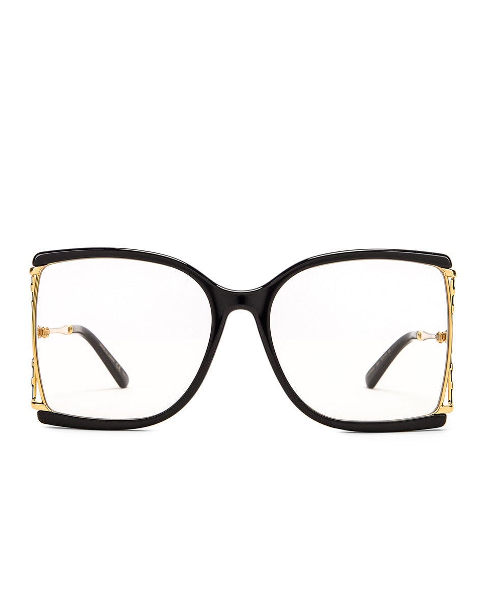 Image 1 of Gucci Oversized Butterfly Sunglasses in Black & Yellow & Clear