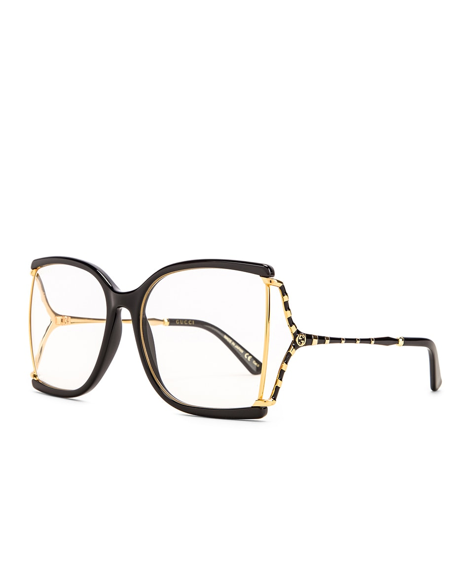 Image 2 of Gucci Oversized Butterfly Sunglasses in Black & Yellow & Clear