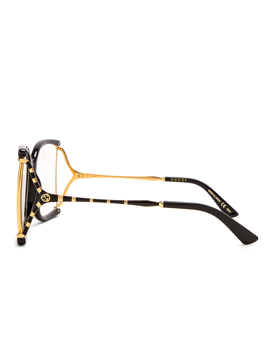 Image 3 of Gucci Oversized Butterfly Sunglasses in Black & Yellow & Clear
