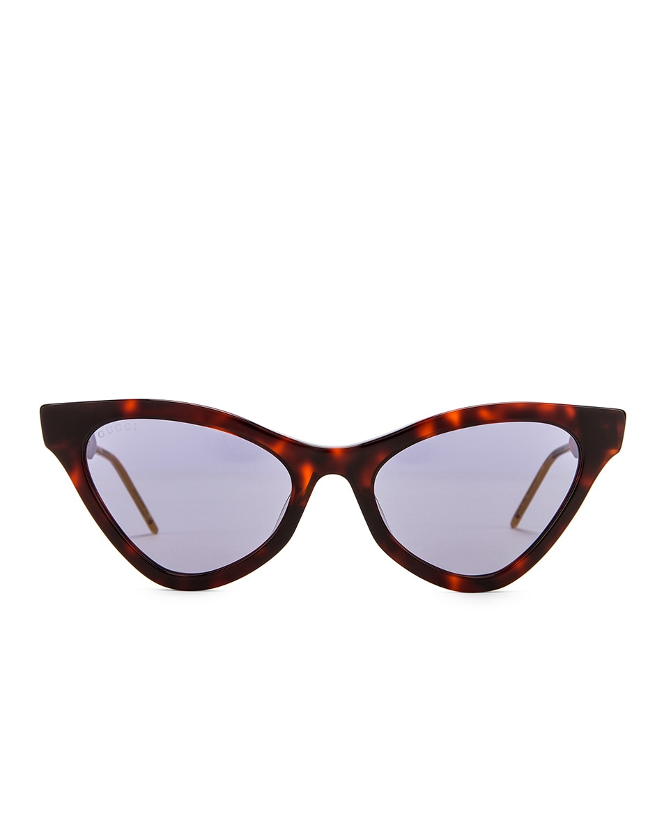 Image 1 of Gucci Cat Eye Sunglasses in Red Havana & Blue