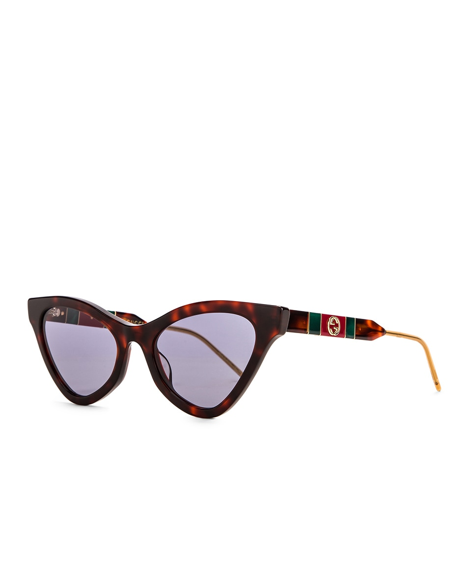 Image 2 of Gucci Cat Eye Sunglasses in Red Havana & Blue