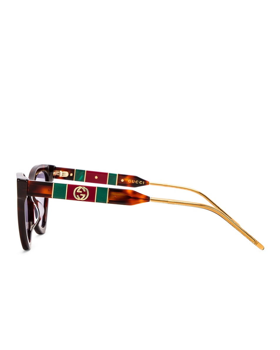 Image 3 of Gucci Cat Eye Sunglasses in Red Havana & Blue
