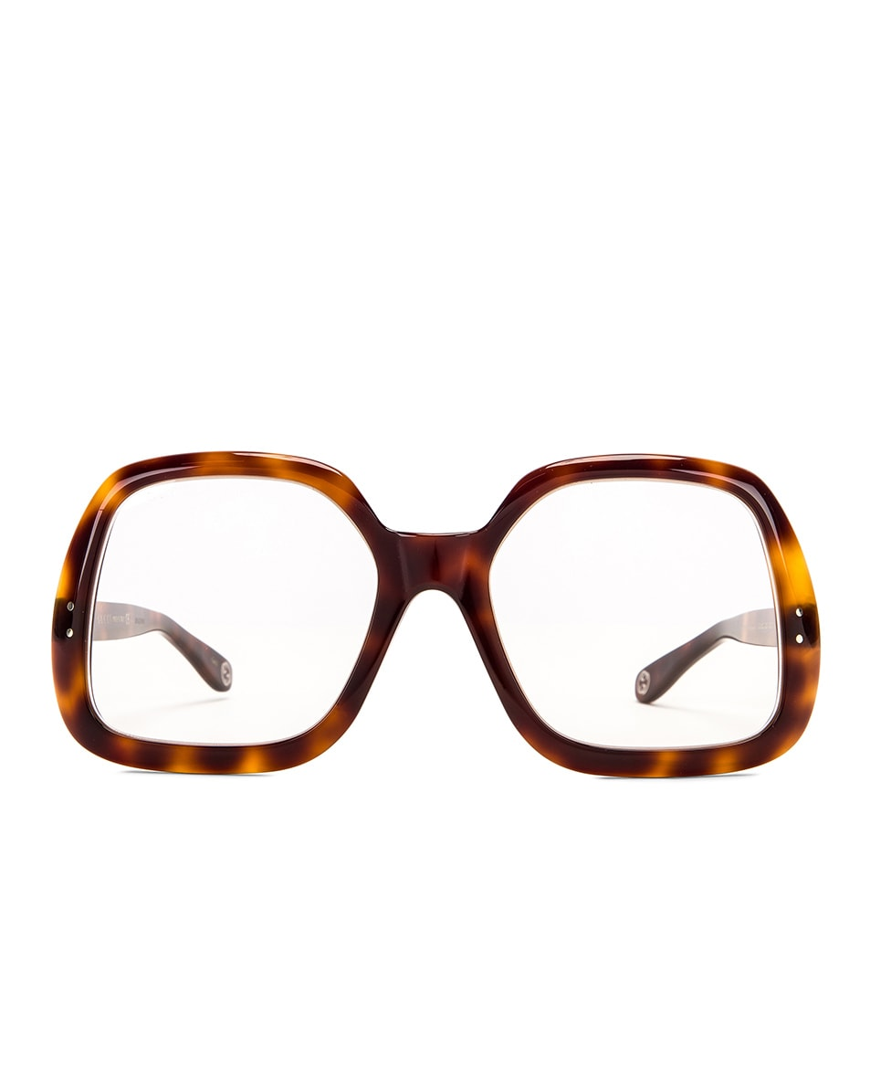 Image 1 of Gucci Oversized Hexagon Sunglasses in Havana & Clear