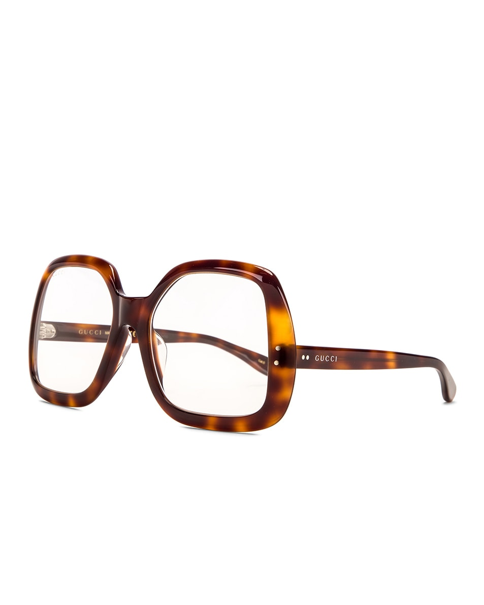Image 2 of Gucci Oversized Hexagon Sunglasses in Havana & Clear