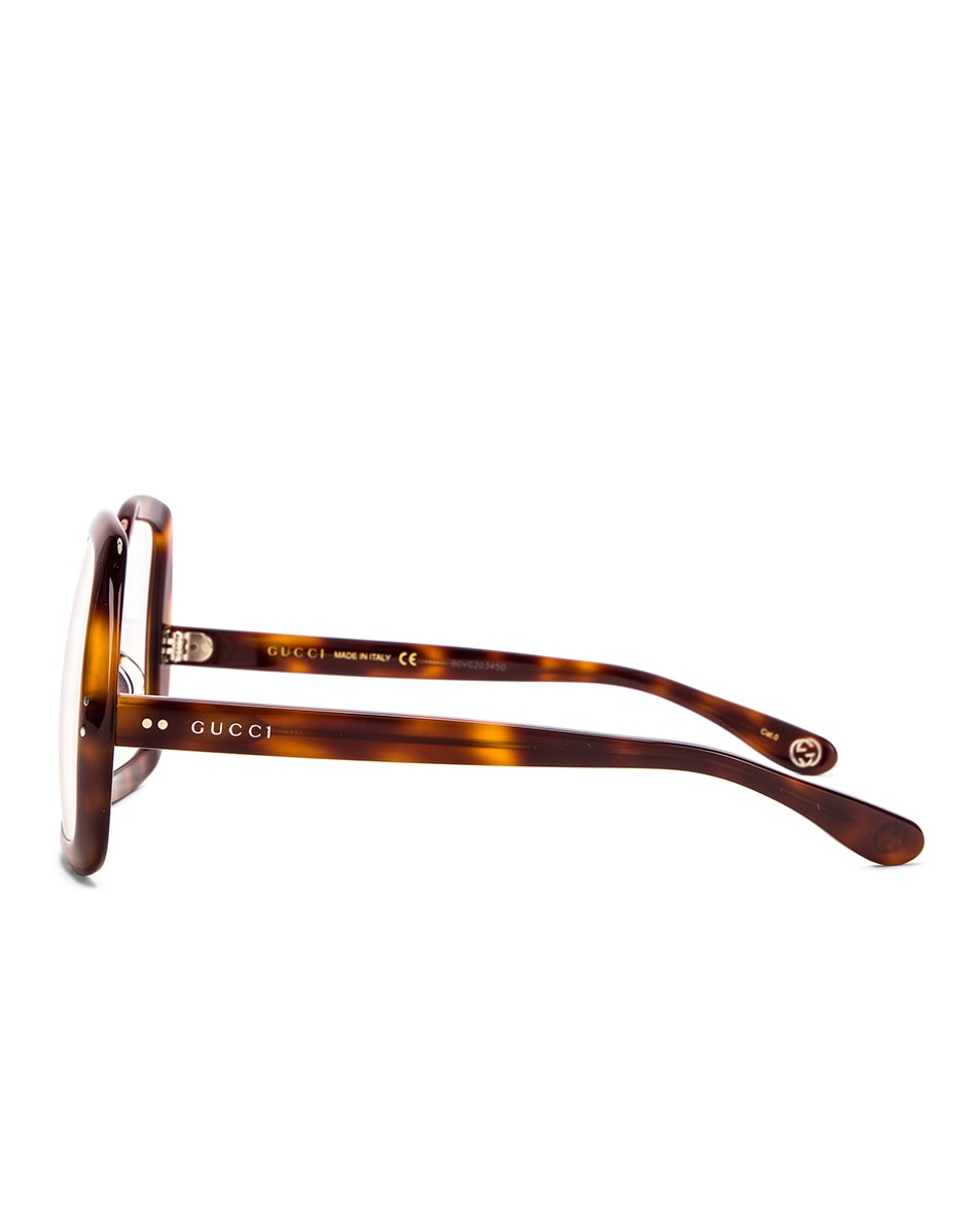 Image 3 of Gucci Oversized Hexagon Sunglasses in Havana & Clear