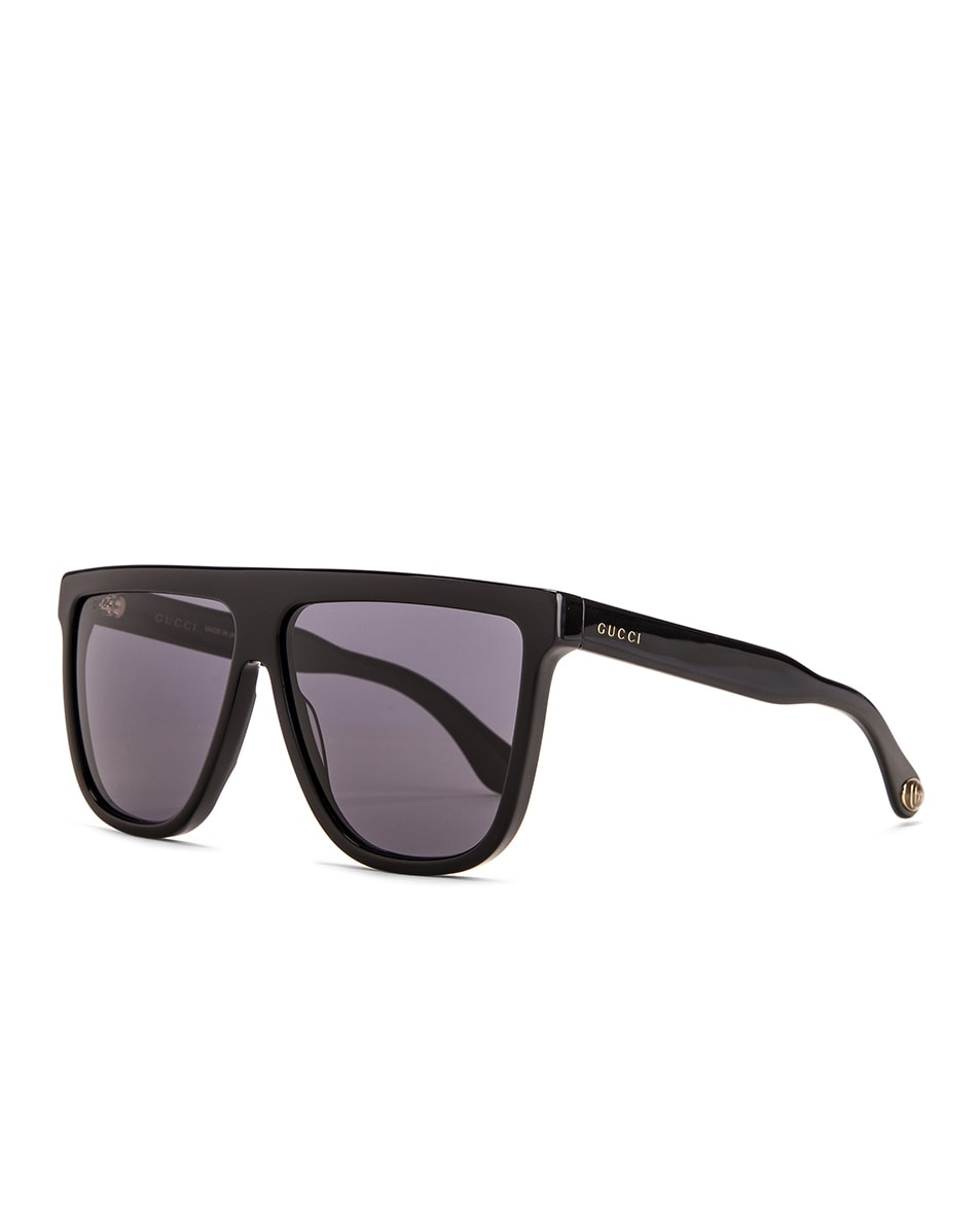 Image 2 of Gucci Flat Top Sunglasses in Black & Grey