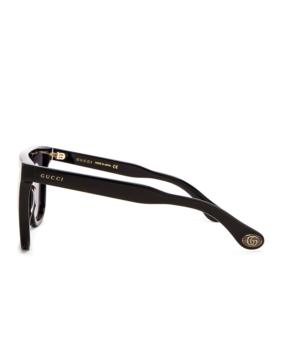 Image 3 of Gucci Flat Top Sunglasses in Black & Grey