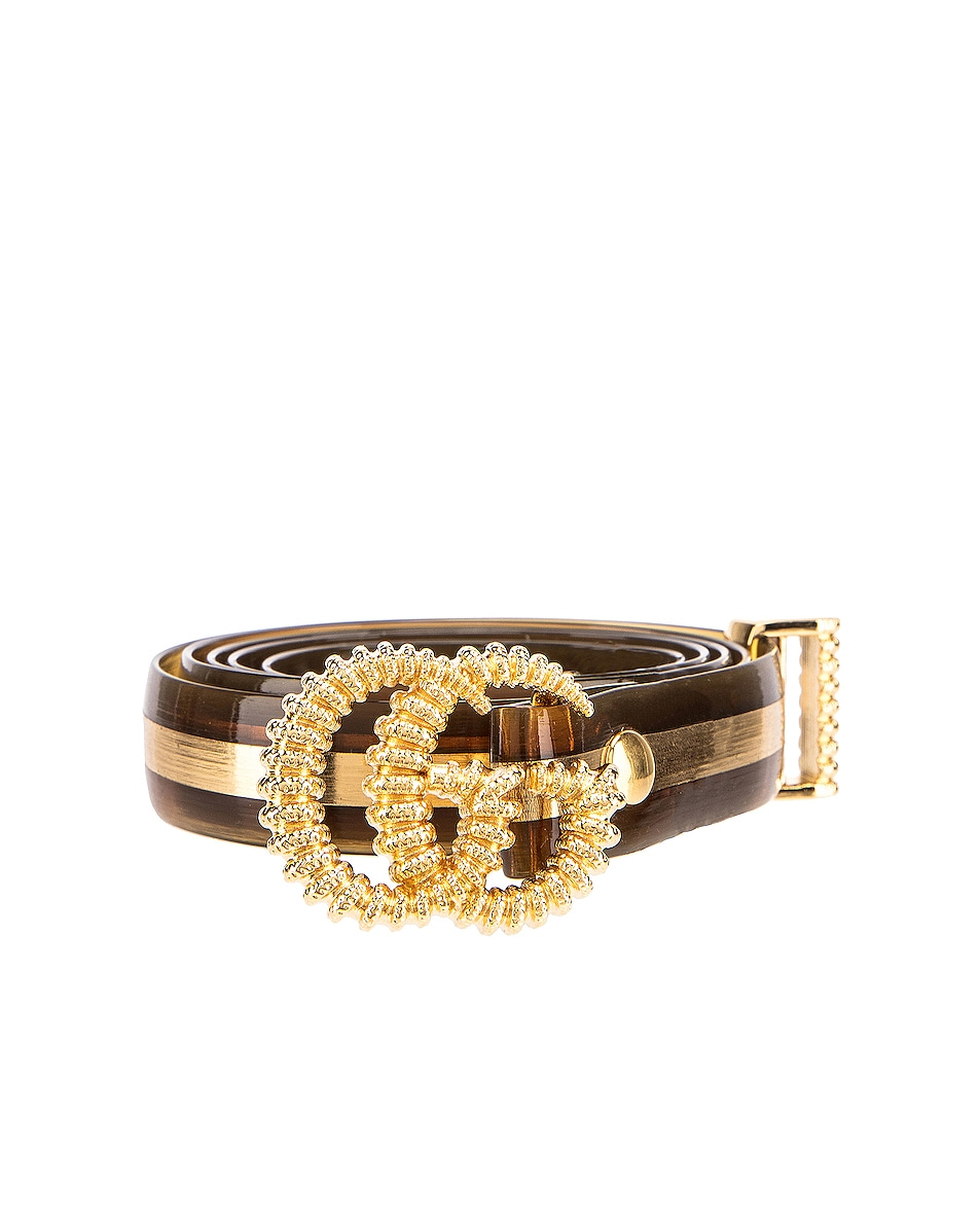 Image 1 of Gucci GG Marmont Belt in Tawny & Gold
