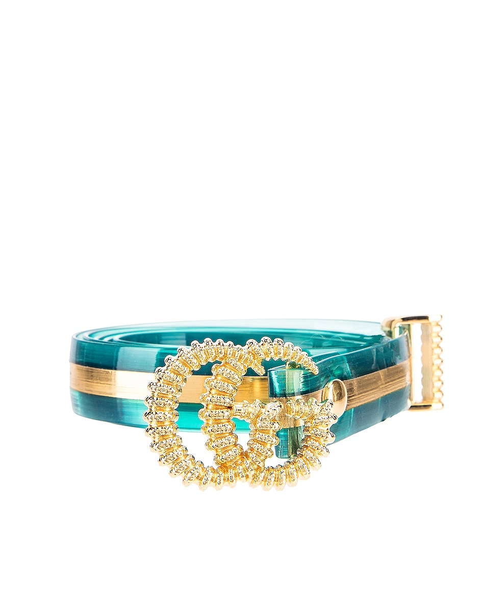 Image 1 of Gucci GG Marmont Belt in Light Blue & Gold