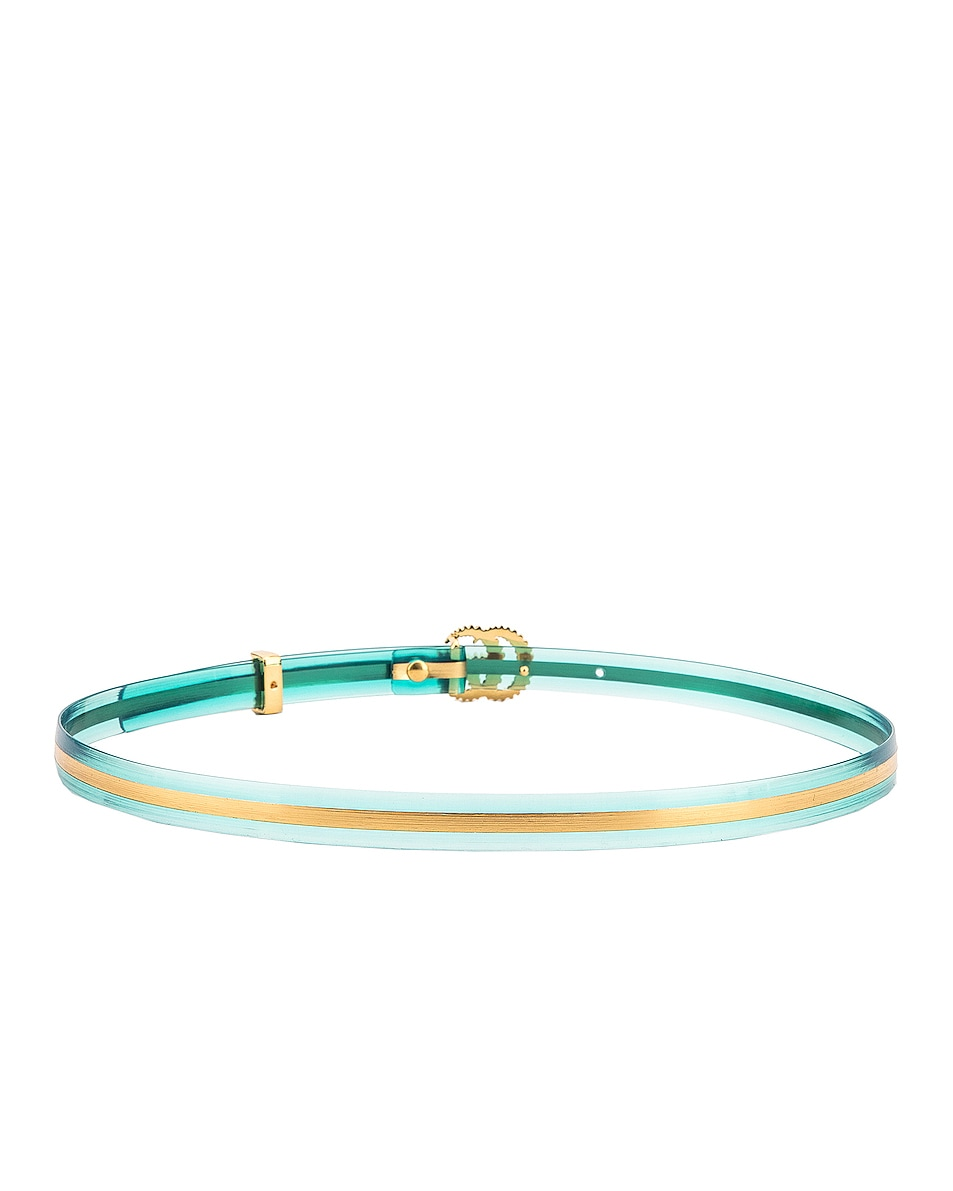Image 3 of Gucci Torchon Double G Buckle Belt in Light Blue & Gold