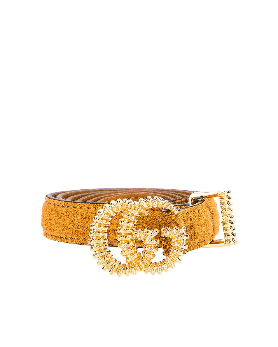 Image 1 of Gucci Suede Torchon Double G Buckle Belt in Vintage Sun Oil