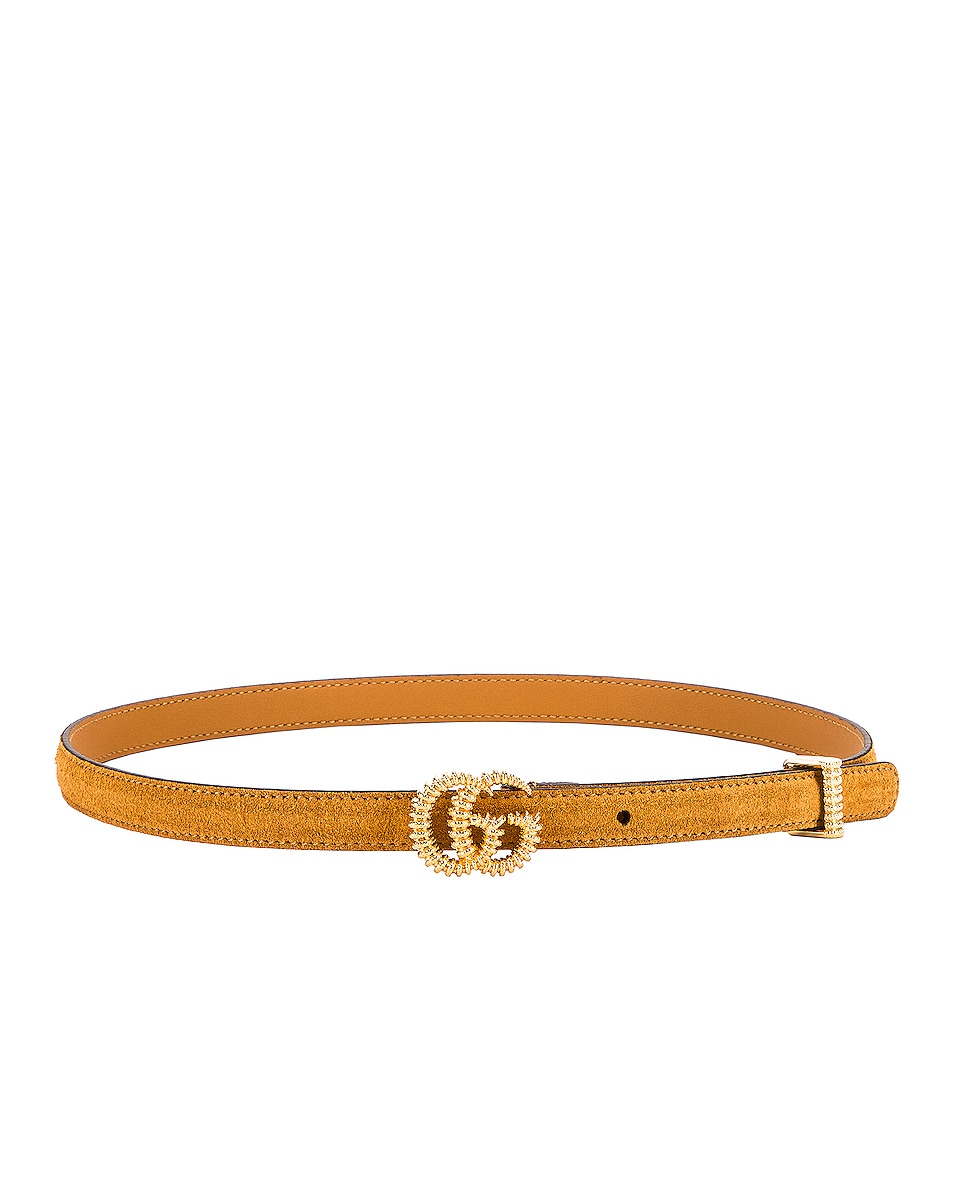 Image 2 of Gucci Suede Torchon Double G Buckle Belt in Vintage Sun Oil