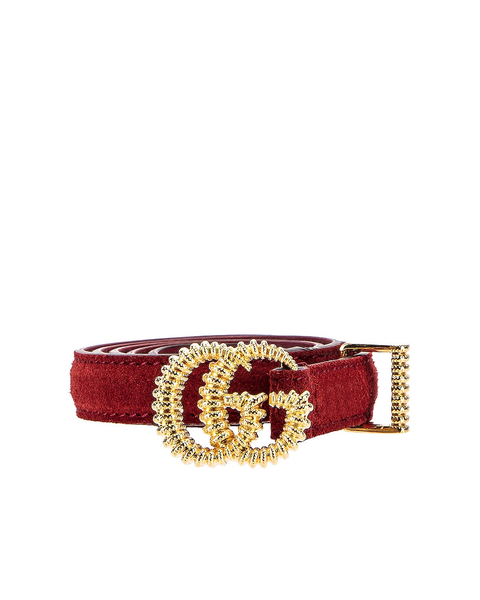 Image 1 of Gucci Suede Torchon Double G Buckle Belt in Cherry Red