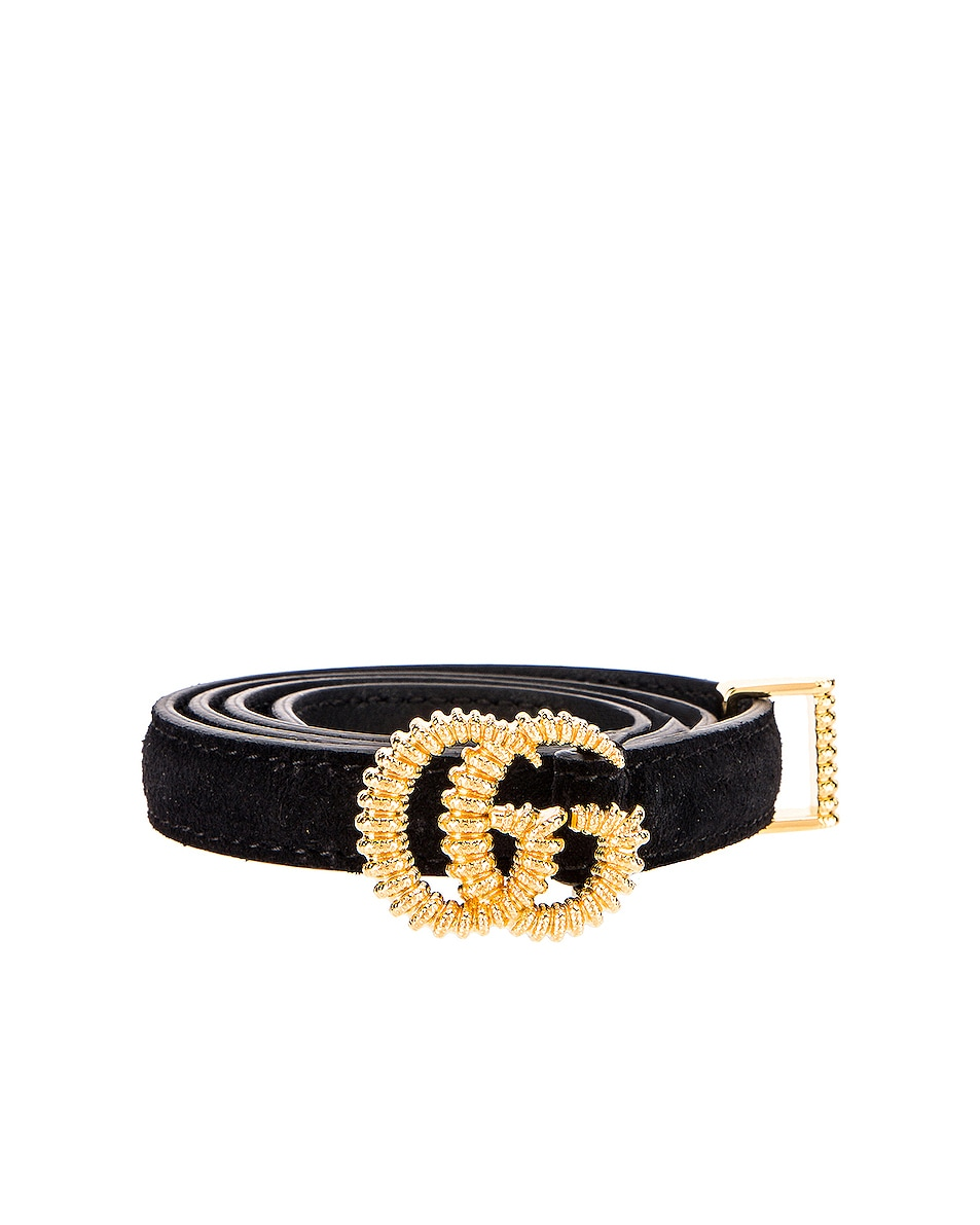 Image 1 of Gucci Suede Double G Buckle Belt in Black