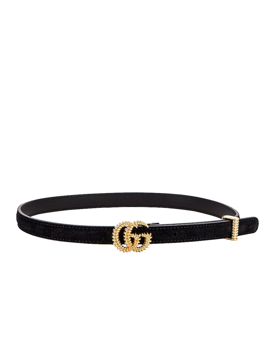 Image 2 of Gucci Suede Double G Buckle Belt in Black
