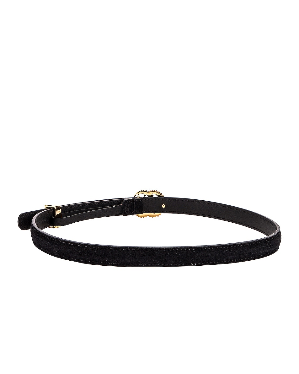 Image 3 of Gucci Suede Double G Buckle Belt in Black